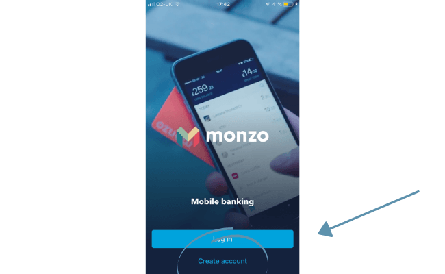 create an account with Monzo