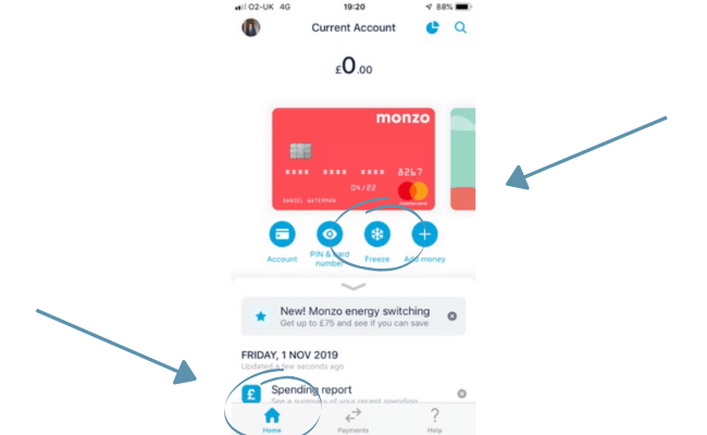 how to freeze your monzo card