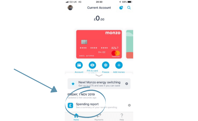 how to access monzo's spending reports