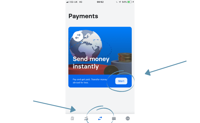 Sending international payments via revolut