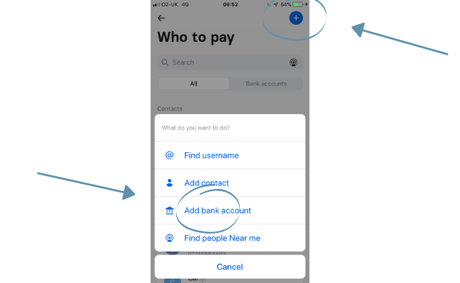 Adding the account I want to pay
