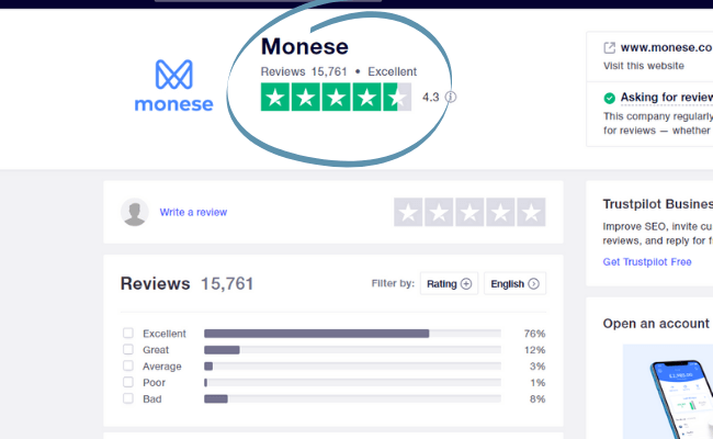 overview of Monese reviews on trustpilot