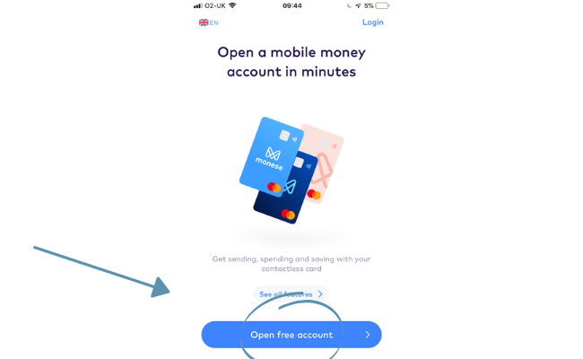 opening a free account with Monese