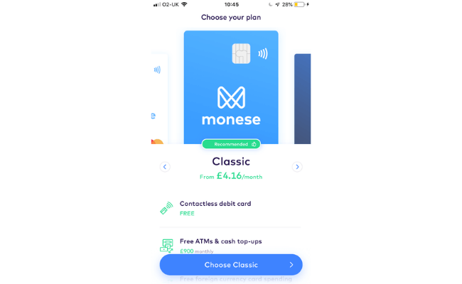 Choosing a monese card