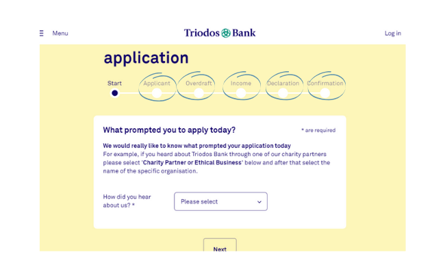 Filling out the triodos application