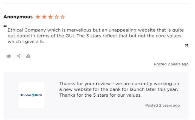 Average Triodos bank review