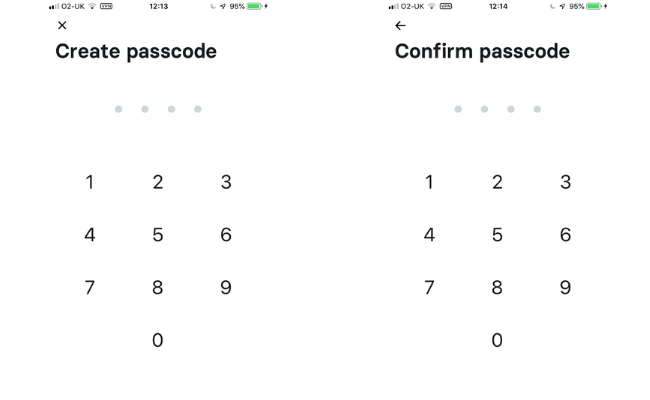 creating and confirming a passcode
