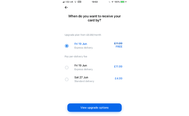 Card delivery options