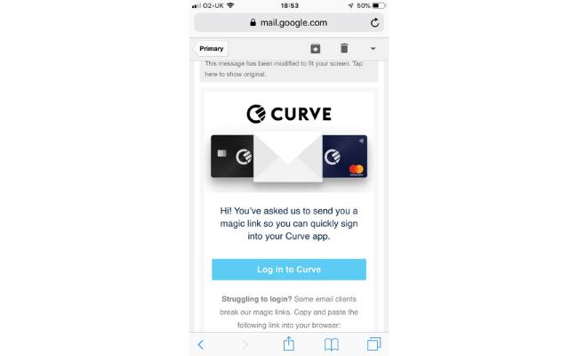 logging into curve via email confirmation